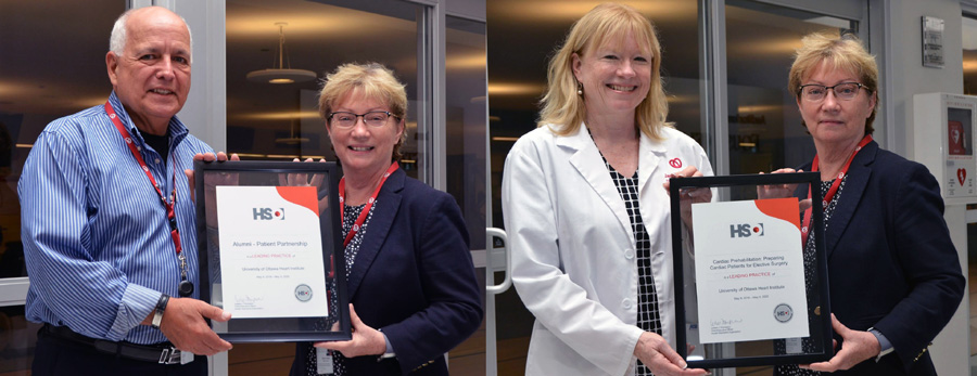On the left photo: Jean Bilodeau, President of the Patient Alumni, receives a plaque from Heather Sherrard, Executive Vice President, Clinical Operations and Chief Nursing  Officer.  On the right photo: Jane Brownrigg, Clinical Manager of Cardiac Rehabilitation, receives a plaque from Heather Sherrard.