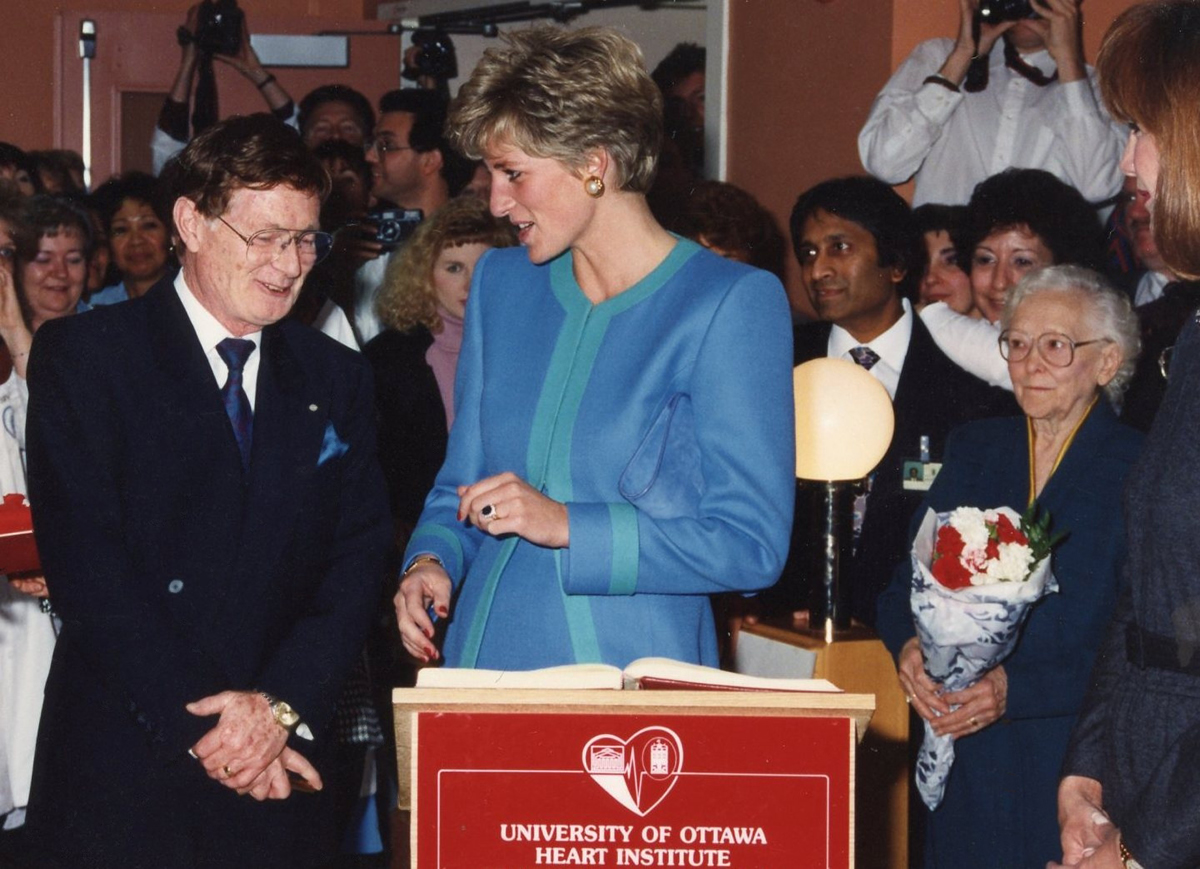 Diana, Princess of Wales, and Dr. Wilbert Keon at the Ottawa Heart Institute in 1991.