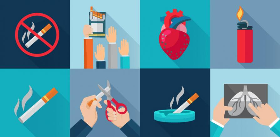 Collage of illustrations of smoking cessation