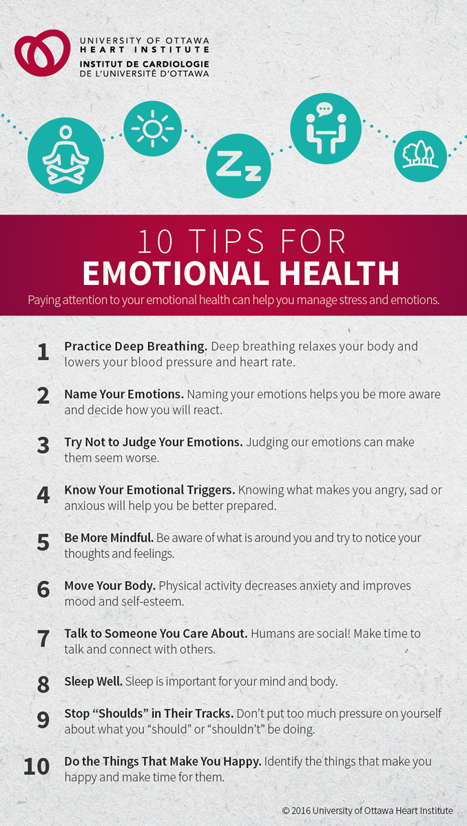 "10 TIPS FOR EMOTIONAL HEALTH: Paying attention to your emotional health can help you manage stress and emotions. Practice Deep Breathing: Deep breathing relaxes your body and lowers your blood pressure and heart rate. Name Your Emotions: Naming your emotions helps you be more aware and decide how you will react. Try Not to Judge Your Emotions: Judging our emotions can make them seem worse. Know Your Emotional Triggers: Knowing what makes you angry, sad or anxious will help you be better prepared. Be More Mindful: Be aware of what is around you and try to notice your thoughts and feelings. Move Your Body: Physical activity decreases anxiety and improves mood and self-esteem. Talk to Someone You Care About: Humans are social! Make time to talk and connect with others. Sleep Well: Sleep is important for your mind and body. Stop ""Shoulds"" in Their Tracks: Don't put too much pressure on yourself about what you ""should"" or ""shouldn't"" be doing. Do the Things That Make You Happy: Identify the things that make you happy and make time for them."