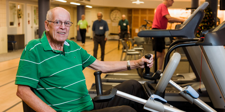 Cardiac rehab patient on a stationary bicycle