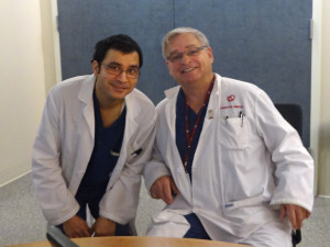 Dr. Roshan Raut (left) at the University of Ottawa Heart Institute during his electrophysiology fellowship, pictured with Dr. Martin Green, Director of the Fellowship Program.