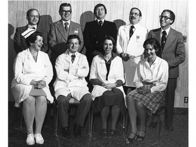Le comité de direction de l'Unité de soins cardiaques, 1979.