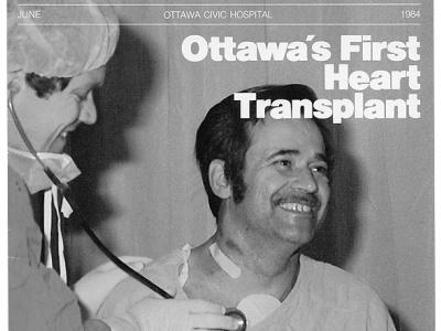 Le Dr Ross Davies aux côtés de Jean-Guy Villeneuve, premier greffé cardiaque d'Ottawa, mai 1984.