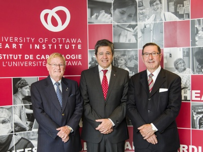 The Three Leaders of the Ottawa Heart Institute: (from left) Wilbert Keon, MD, 1976 to 2004; Thierry Mesana, MD, PhD, 2014 to present; and Robert Roberts, MD, 2004 to 2014.