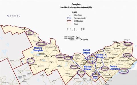 Les hôpitaux de la région de Champlain qui utilisent les outils GAP sont encerclés en mauve.