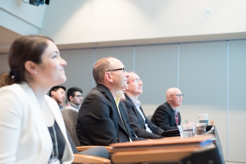 Innovation Award Panel Judges intrigued by our Innovation Award Finalists' pitches: Dr. Mireille Ouimet (Innovation Award Session Moderator, UOHI), Mr. Simon Kennedy (Health Canada), Mr. Michel Ranger, and Dr. Robert Reid (UOHI)