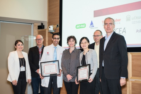 Drs. Aizhu Lu (third from right) and Aws Almufleh (third from left) received the Innovation Award from Ms. Coralie Lalonde (centre), CEO, Katsura Investments
