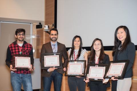 From left to right: Mr. Uzair Sayani (Award for Best Basic Science Poster; Supervisor: Dr. Benjamin Rotstein); Dr. Mohammad Al-Khalaf (Honourable Mention for Basic Science Poster; Supervisor: Dr. Peter Liu); Dr. Kimberley Way (Honourable Mention for Clinical Science Oral Presentation; Supervisor: Dr. Jennifer Reed); Ms. Yena Oh (Award for Best Basic Science Oral Presentation; Supervisor: Dr. Han Kim); Dr. Tina Zhu (Award for Best Clinical Science Oral Presentation; Supervisor: Dr. Thais Coutinho)