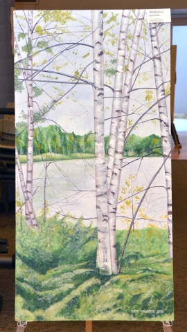 """: Russ Paquette, the artist who painted """"Healing Birches,"""" said there aren't any birch trees in the actual location that inspired this photo, a pond outside Perth, ON. Russ opted for silver birch trees instead because of their multitude of medicinal properties and healing qualities, which he hopes will help patients with their recovery."""