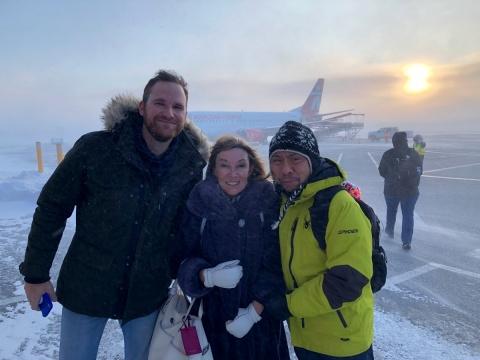 Mark Hoogkamp, Dr. Carole Dennie (UOHI) and Dr. Jose Aquino (TOH) pose in Iqaluit.