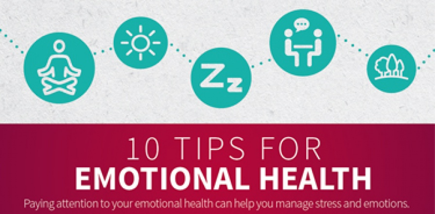 10 TIPS FOR EMOTIONAL HEALTH: Paying attention to your emotional health can help you manage stress and emotions. Practice Deep Breathing: Deep breathing relaxes your body and lowers your blood pressure and heart rate. Name Your Emotions: Naming your emotions helps you be more aware and decide how you will react. Try Not to Judge Your Emotions: Judging our emotions can make them seem worse. Know Your Emotional Triggers: Knowing what makes you angry, sad or anxious will help you be better prepared. Be More Mi