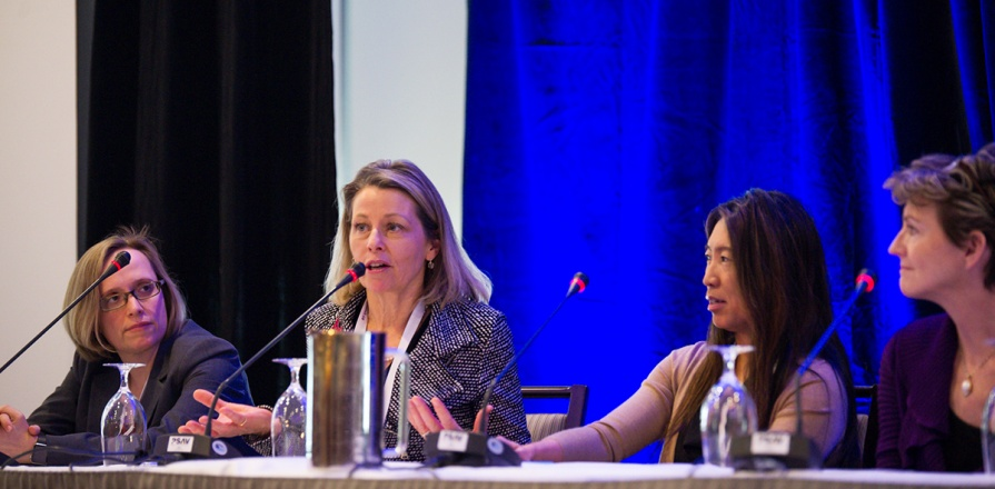 An Ask the Experts panel at the Canadian Women's Heart Health Summit included (from left) Lisa Mielniczuk, MD, Ottawa Heart Institute; Sharon Mulvagh, MD, Mayo Clinic; Jacqueline Saw, MD, University of British Columbia; and Sharonne Hayes, MD, Mayo Clinic.