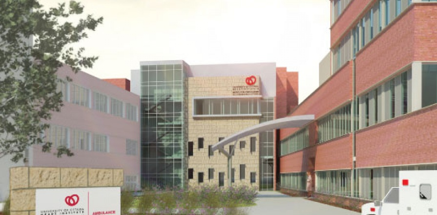 Artist rendering of the new building and ambulance canopy