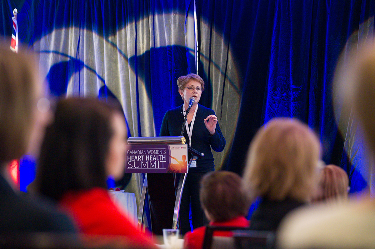 Speaker Karin Humphries, DSc, of the University of British Columbia, spoke on the biological and physiological ways that heart disease is different for women than from men.